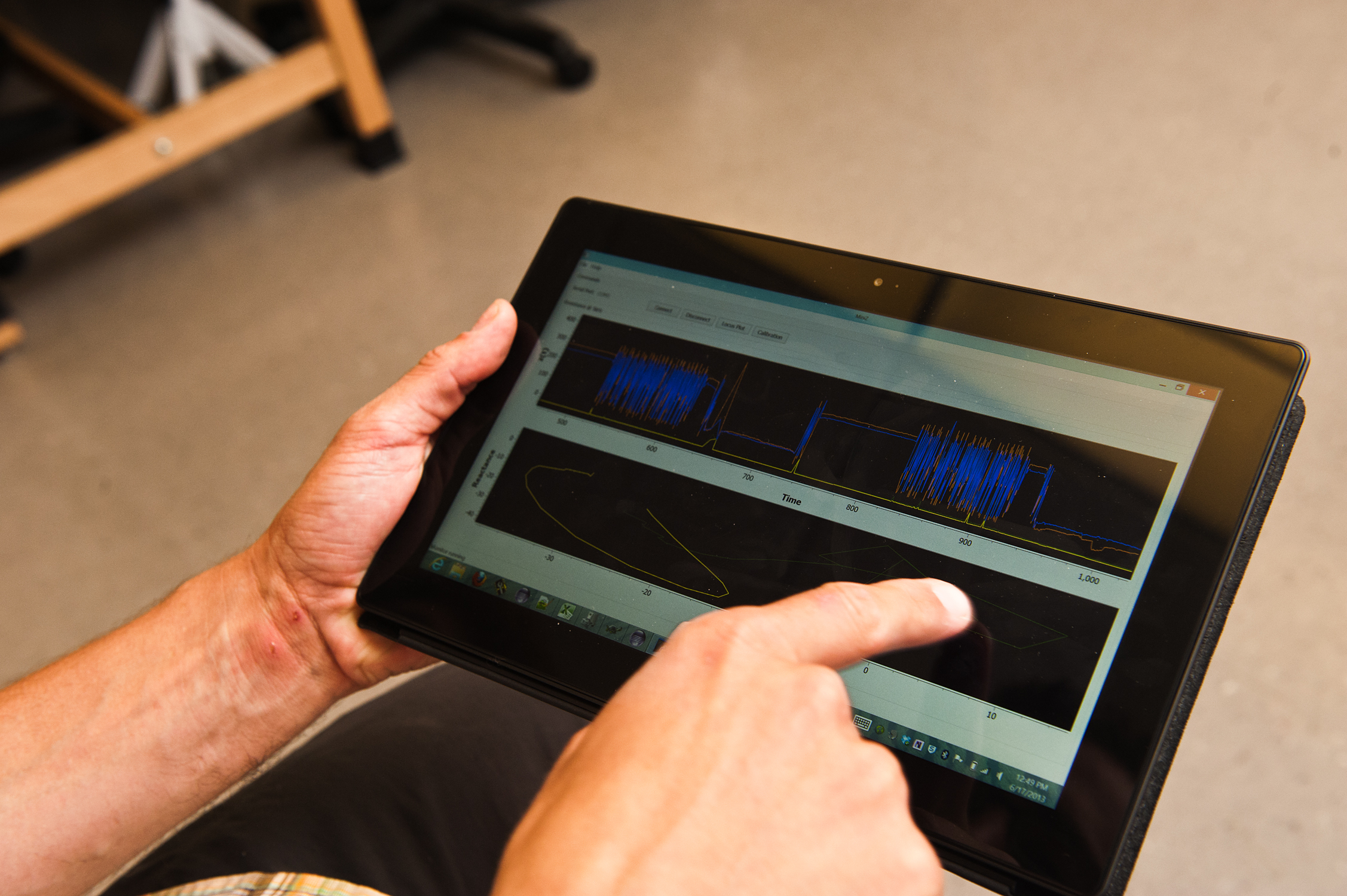 Tablet device shows real-time changes as Ron Bailey walks.