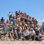The entire Tel Dor group — the UW team together with the University of Haifa and Hebrew University teams — together for our end-of-season photograph. Professor Stroup is in the front row, in a blue shirt and hat at the UW's Tel Dor arachaeological site.