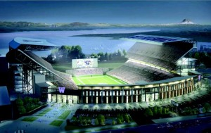 Artist's rendering of the remodeled Husky Stadium