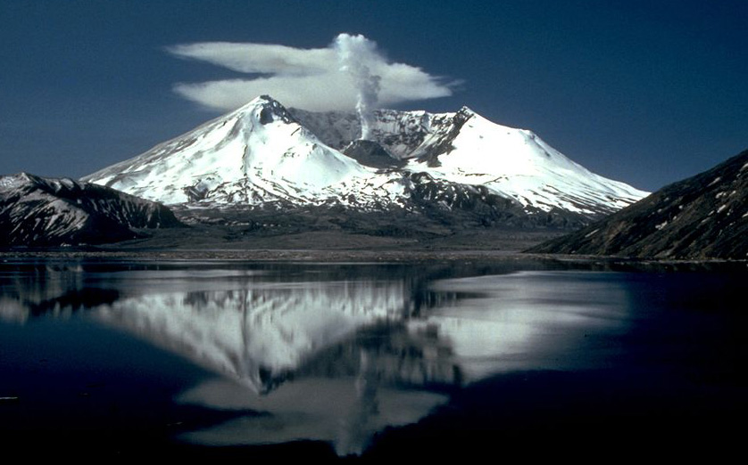 Mount St. Helens as it appeared two years after its catastrophic eruption on May 18, 1980.