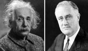 Albert Einstein, left, and President Franklin Roosevelt.