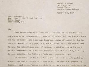 Albert Einstein's Aug. 2, 1939, letter to President Franklin Delano Roosevelt.
