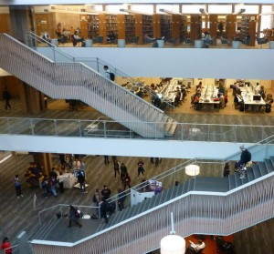 A three-story atrium is the centerpiece of the refurbished Odegaard Undergraduate Library.