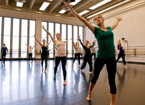 Student Annmarie Morro caught in motion during a class in advanced jazz and theater dance taught by Wilson Mendieta. Morro was accepted into the new musical theater degree program.