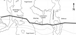 Map shows the path of the Seattle fault.