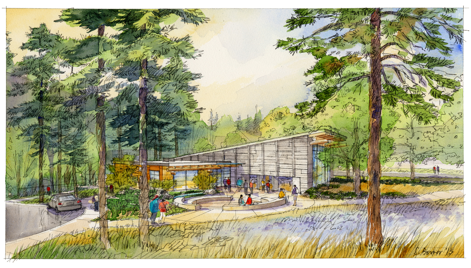 Drawing of the longhouse-style facility to be built at UW.
