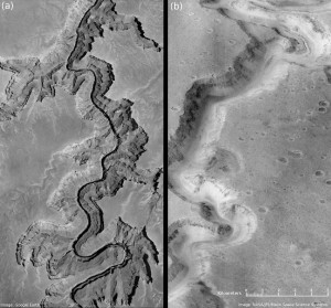 A river ran through it: A split panel comparing a section of Arizona's Grand Canyon, left, with a section of Mars' Nanedi Valles in the Lunae Palus quadrangle of Mars. The northern part of the image shows that a river once cut through it similar to the one flowing through the Grand Canyon.