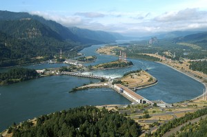 aerial view of bonneville dam, 40 miles east of portland.