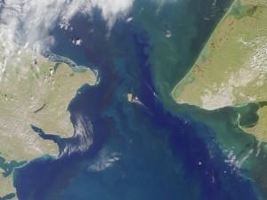 satellite map of Bering Strait