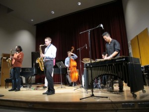 A jazz combo plays in Brechemin Auditorium. Jazz Innovations I and II will be performed there  Feb. 19 and 20.