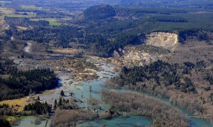 An aerial view of the Snohomish County mudslide.