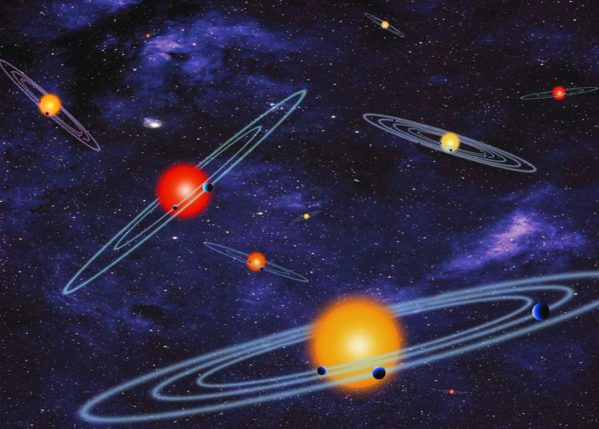 An artist's illustration of multiple-transiting planet systems. The planets eclipse or transit their host star from the vantage point of the observer.
