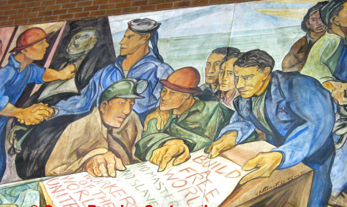 """Part of the mural """"Struggle Against Racial Discrimination"""" (1945) by Paul O' Higgins was commissioned by the Shipscalers, Drydock and Miscellaneous Workers Union in Seattle. It now hangs in UW's Kane Hall."""