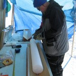 person with ice core