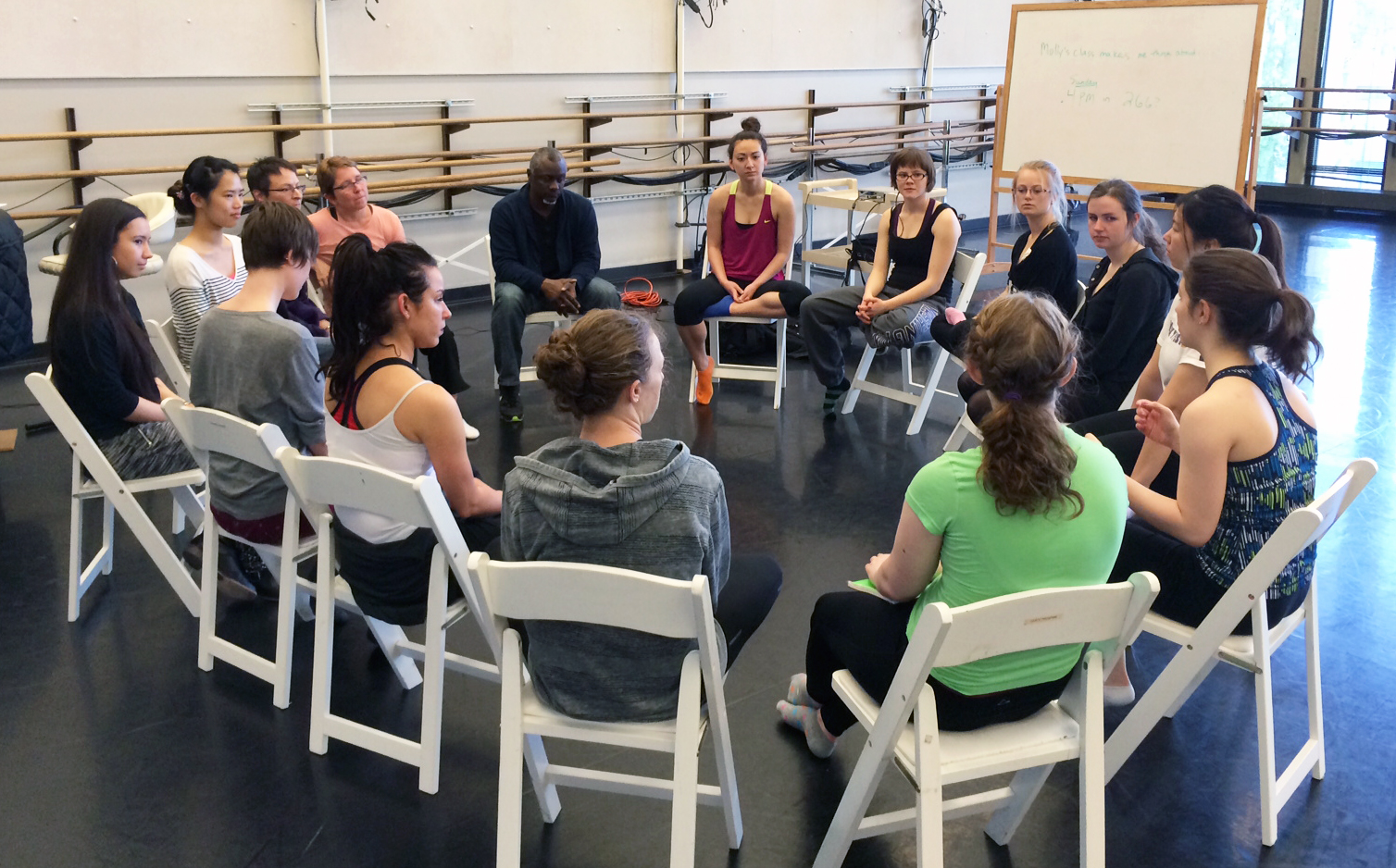 Choreographer Robert Moses begins his visit to the UW campus in April by chatting with student dancers in Professor Jennifer Salk's class, listening patiently as they discussed their lives and interest in dance.