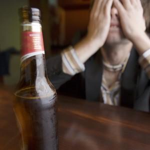 Pensive man at bar