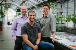 researchers in UW greenhouse