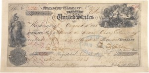 "The Treasury Warrant used to pay for Alaska. The purchase was dubbed ""Seward's Folly"" for the Secretary of State who approved the purchase."