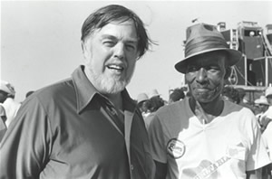 Folklorist Alan Lomax, left, with Delta blues musician James (Son) Thomas at a 1979 blues festival in Greenville, Mississippi.