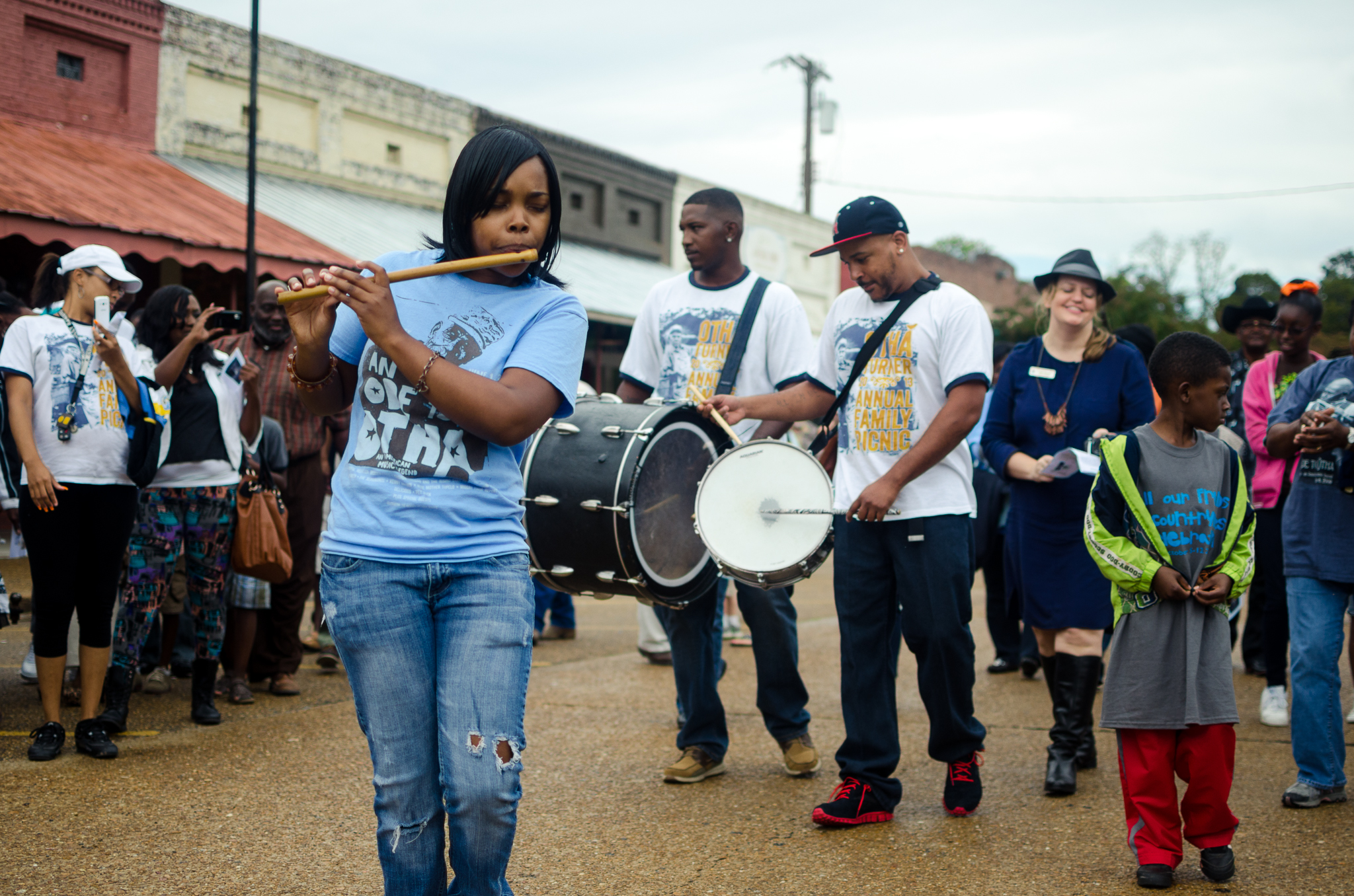 "Participants in the Association for Cultural Equity's music October 2013 repatriation ceremony perform and parade. The event, called the ""All Our Friends Hill Country Blues Celebration,"" was held in Tate and Panola counties in Mississippi."