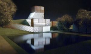 artist image of a community wellness center designed by Steven Holl