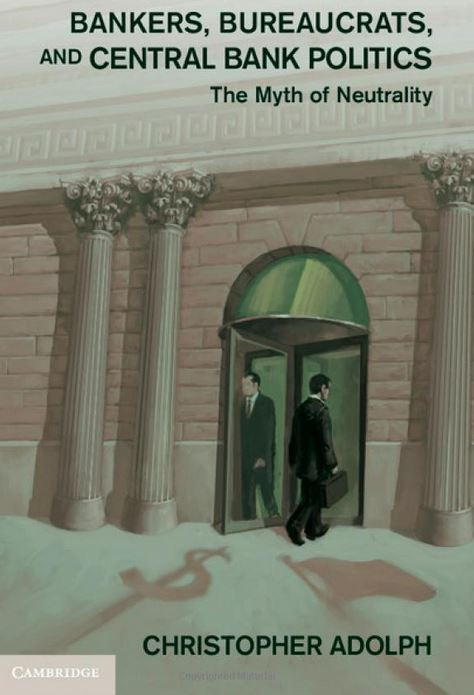 Men walk through revolving bank doors on cover of book