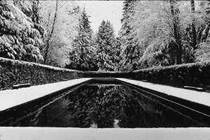 "The reflection pool at the Bloedel Reserve on Bainbridge Island designed by Richard Haag, one of the Northwest architects added to the second edition of ""Shaping Seattle Architecture."""