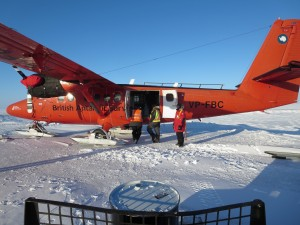 red plane on ice