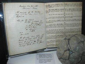 "The original hand-written ""Laws of the Game"" drafted for The Football Association in 1863 on display at the National Football Museum, Manchester, England."