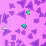 As seen under an optical microscope, the heterostructures have a triangular shape. The two different monolayer semiconductors can be recognized through their different colors.