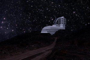 A photograph and a rendering mix, showing a view of the exterior building from the road leading up to the site at night.