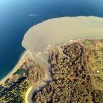 aerial photo of sediment plume