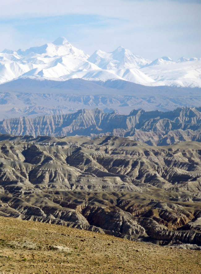 The Zhada Basin on the southwest Tibetan Plateau, with the Himalayas to the south.