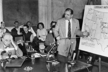 Wisconsin Sen. Joseph McCarthy, right, holds forth at the Senate Subcommittee on Investigations' McCarthy-Army hearings on June 9, 1954. At left is Joseph Welch, chief senate counsel representing the United States Army.