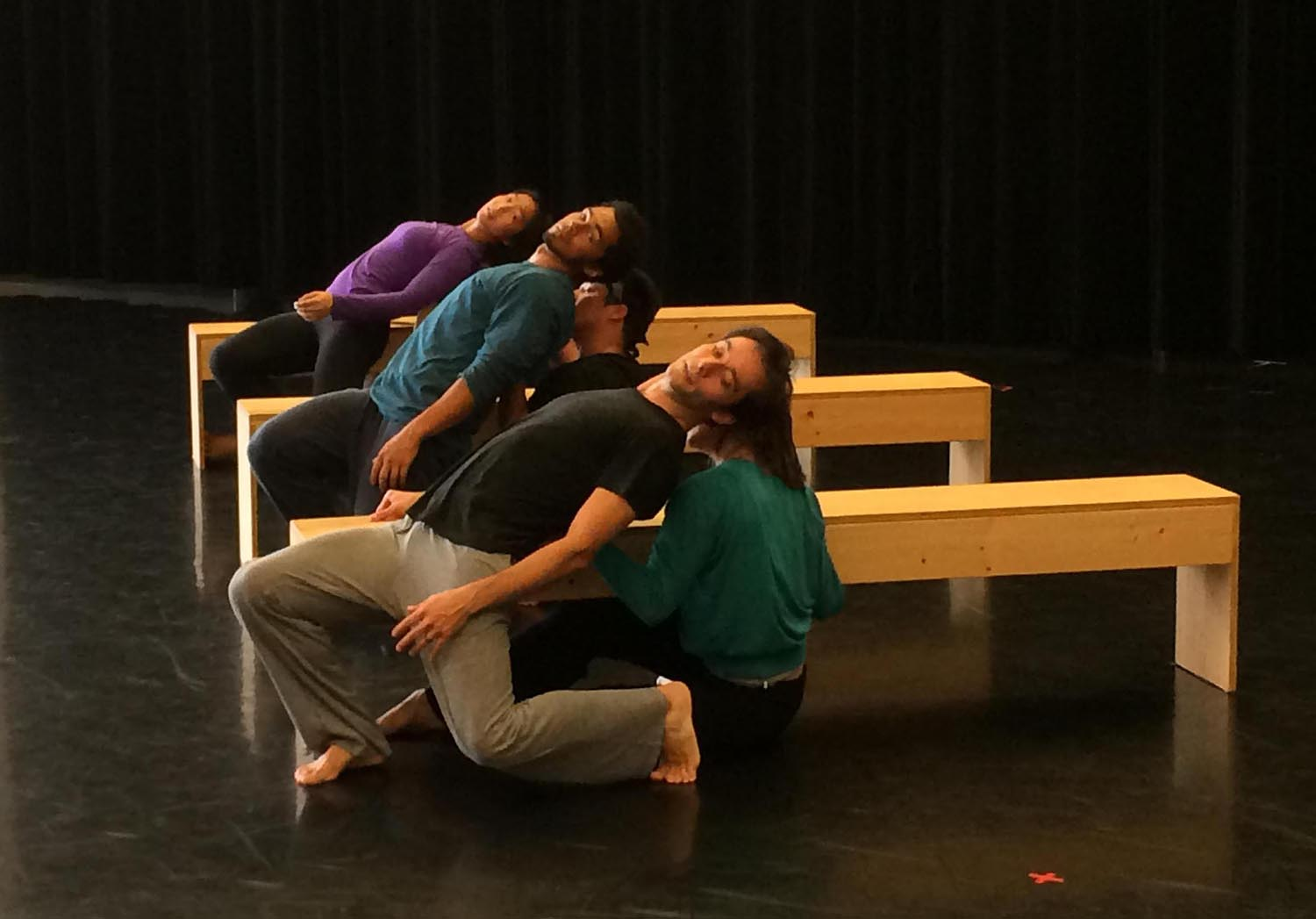 """Members of the UW Chamber Dance Company rehearse the piece """"To Have and Hold."""" Seen in front is Pablo Piantino."""