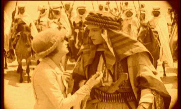 "Agnes Ayers and Rulolph Valentino in the 1921 film ""The Sheik,"" directed by George Melford. The film is one of many now accessible online through UW Libraries."