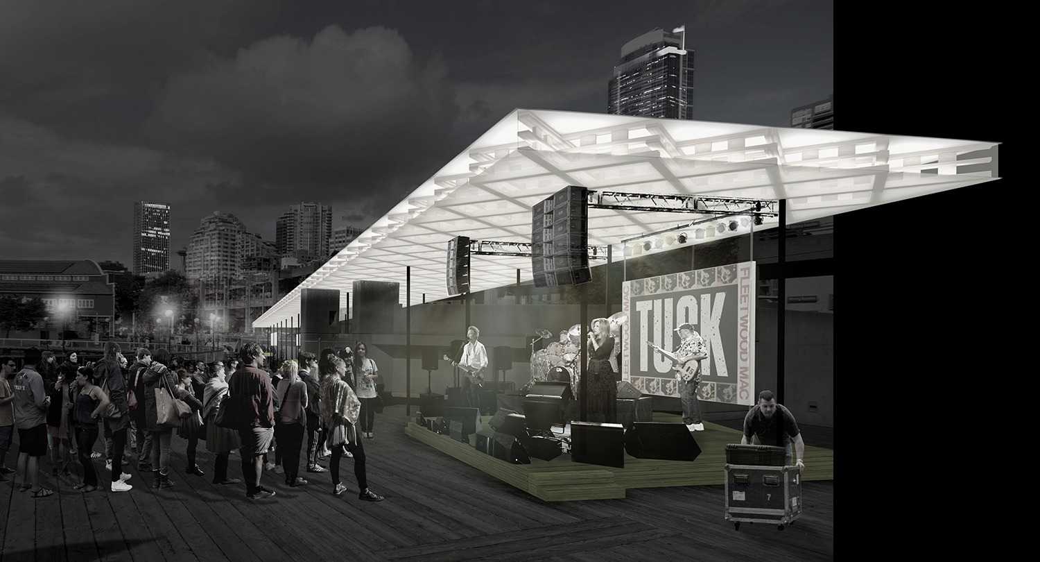 An illustration of the band performance area on the south side of the proposed Hotspot Pavilion near Pier 58 on Seattle's waterfront. The design was chosen from four created by UW architecture graduate students.