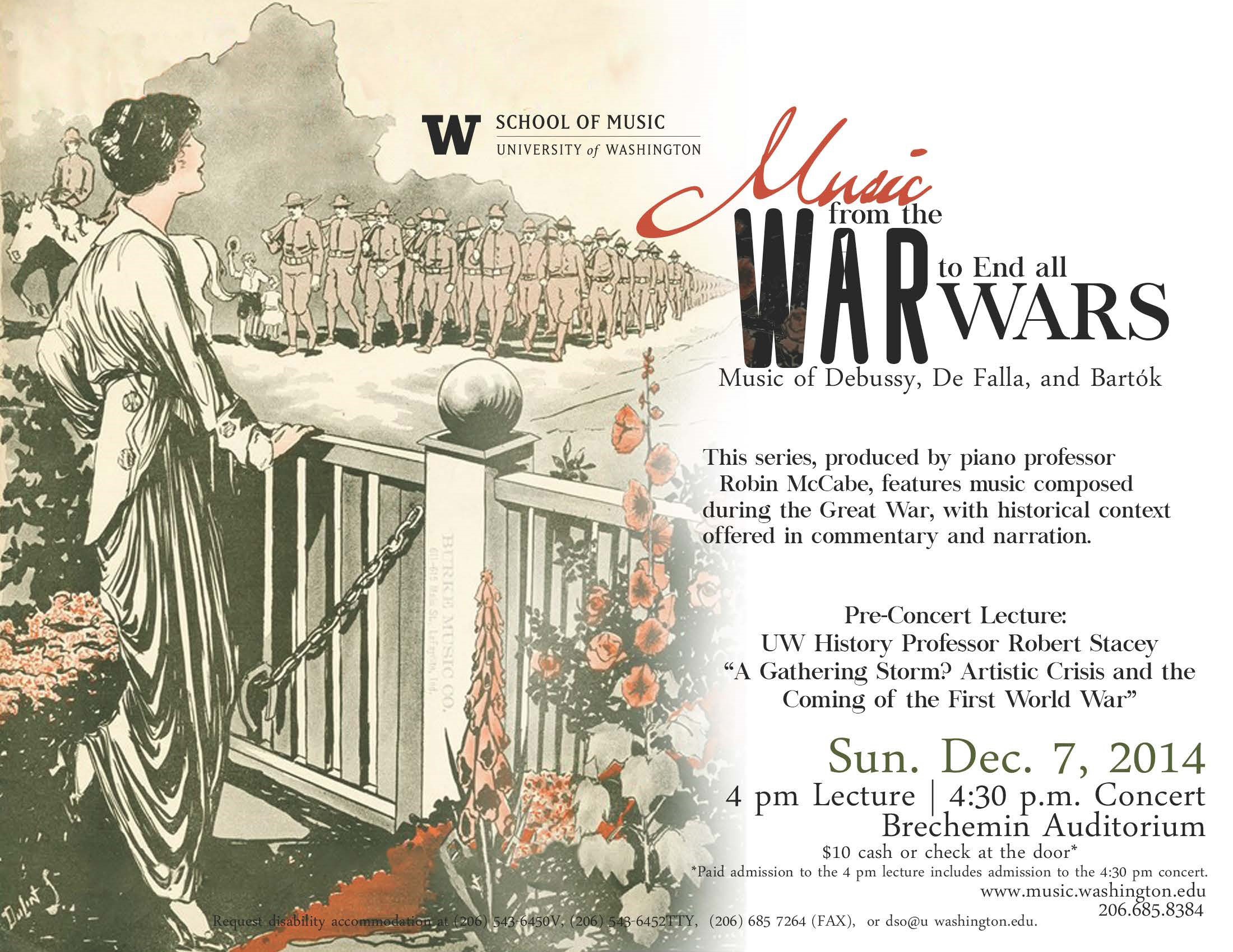 "Poster for the UW School of Music's concert series ""Music from the War to End All Wars"""