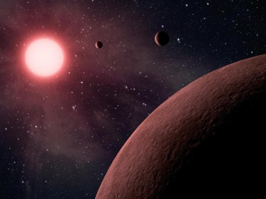 Illustration of a low-mass, M dwarf star, seen from an orbiting rocky planet.