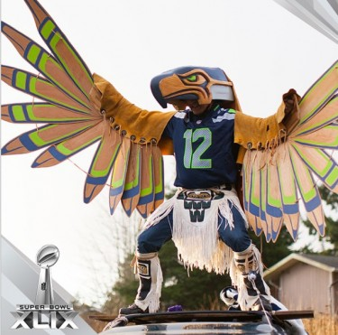 Seahawks rally at the Burke Museum, Jan. 30.
