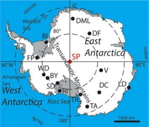map of Antarctica with ice core sites