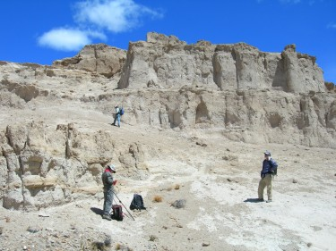 The researchers work in Miocene-aged deposits near Rio Chico in Chubut Province, Argentina.