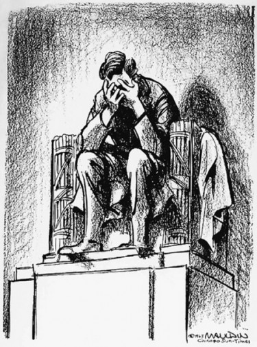 "Editorial cartoonist Bill Mauldin's famous November 1963 cartoon mourning the assassination of John F. Kennedy. ""I was a kid when JFK was killed, and it was the most dramatic moment of my young life,"" Horsey said. ""Mauldin's cartoon is forever caught up with that experience, probably because of its simple visual power."" The cartoon ran in the Chicago Sun Times."