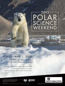 Polar Science Weekend poster, with polar bear photo by UW's Kristin Laidre