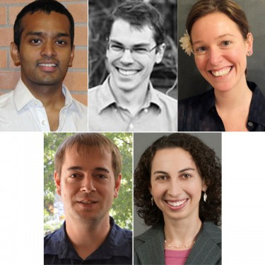Top: Shyam Gollakota, Cole Trapnell and Brandi Cossairt; bottom: Thomas Rothvoss and Emily Fox