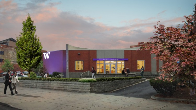 An artist's rendering of the outside of the UW's coming Spokane Center.