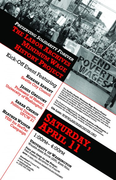 Poster for Preserving Solidarity Forever: The Labor Archives Minimum Wage Project kickoff April 11.