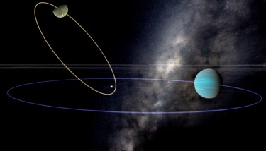 "A ""chaotic Earth"" could exist in a planetary system in which a neighboring planet has ""year"" that is an integer multiple of another planet's ""year,"" and if the orbital planes are not aligned. The affected planet's orbit can become very elongated and even flip all the way over, such that the two planets are revolving in opposite senses. These planets would have unpredictable climates, perhaps becoming inhospitable for millions of year at a time. Here, the potentially habitable planet is perturbed by a Neptune-mass planet on a three-year orbit and has an elongated orbit, which would make it relatively hot. As such it is mostly dry, but some seas remain, including one which contains the stellar glint, a feature astronomers will look for as it reveals the presence of surface liquids."