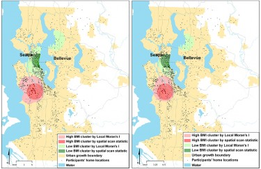 Two views of the spatial clustering of obesity in King County, from a recent study involving Anne Vernez Moudon of the UW College of Built Environments. The panel at left refects obesity clusters adjusted for demographic characteristics and the panel at right is adjusted for socioeconomic characteristics. Both show high body-mass indexes, called BMIs, clustering in South King County and lower BMI in North King County.