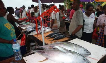 A fish market in the Solomon Islands, near Papua New Guinea.